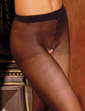 SHEER & SEXY NYLON CROTCHLESS PANTYHOSE* BLACK *RED *WHITE *NUDE - ONE SIZE