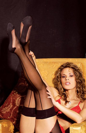SEXY BLACK FANCY LEGS CUBAN FOOT THIGH-HIGH STOCKINGS - ONE SIZE