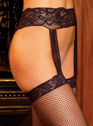 SEXY SHEER BLACK FISHNET STOCKINGS W/ LACE GARTER BELT - PLUS
