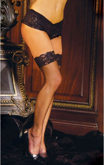SEXY SHEER BLACK or WHITE FISHNET THIGH-HIGH LACE TOP STOCKINGS - PLUS SZ