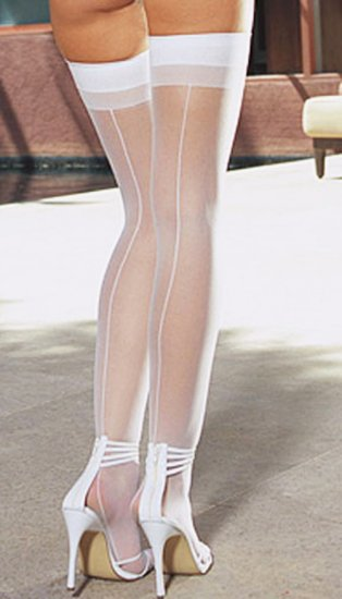 SEXY BLACK *RED or WHITE THIGH-HIGH STOCKINGS W/ BACK SEAM - ONE SIZE