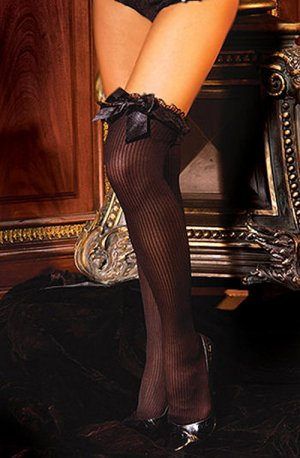 SEXY BLACK *RED *PINK or WHITE RIBBED THIGH-HIGH STOCKINGS W/ LACE RUFFLE & BOWS - ONE SIZE