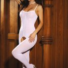 SEXY OPAQUE WHITE or BLACK CROTCHLESS BODY STOCKING - PLUS