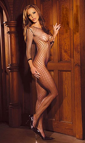 SEXY BLACK INDUSTRIAL NET LONG SLEEVE CROTCHLESS BODYSTOCKING - ONE SIZE
