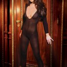 SEXY BLACK or NUDE OPAQUE V-NECK CROTCHLESS BODY STOCKING - ONE SIZE