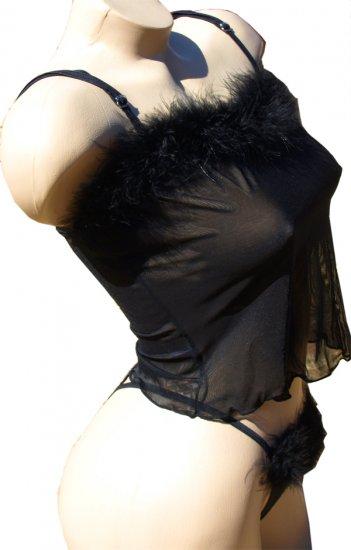 SEXY & NAUGHTY BLACK SHEER CAMI & G-STRING W/ MARABOU TRIM - ONE SIZE