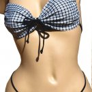 SEXY CLUB DANCER BLACK PLAID BIKINI BRA TOP & THONG SET -  ONE SIZE