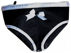 SEXY & CUTE ADORABLE BLACK & WHITE PANTY SHAPE COIN PURSE W/ ZIPPER OPENING
