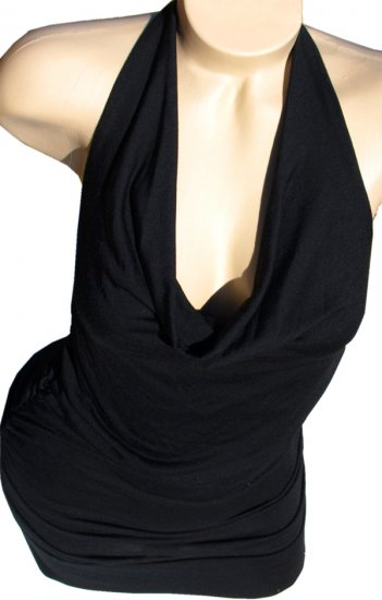 SUPER SALE* SEXY BLACK HALTER TUNIC CLUB TOP MINI DRESS* SMALL*  or *LARGE
