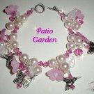 Patio Garden-Sterling Pink Lucite, Crystal Bracelet