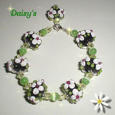 Daisy's, Sterling Chunky Floral Lampwork Bracelet