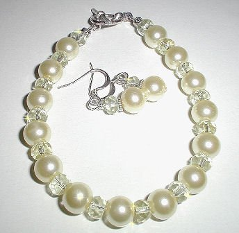 Sunny Yellow Crystal Glass Pearl Bracelet Set