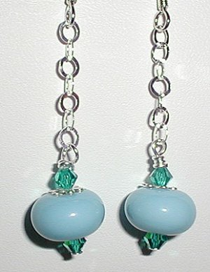 Sterling Aqua Lampwork Dangle Earrings