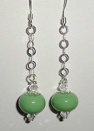 Sterling Green Lampwork Dangle Earrings
