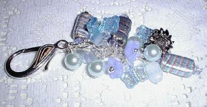 Blue Lampwork Purse Charm, Key Ring