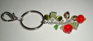 Colorful Millefiore Lampwork Purse Charm, Key Ring