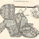 Knit  - Scalloped Baby Set (Bonnett-Sweater-Booties) (ref: e1010k)