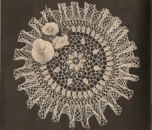 Crochet - American Beauty Ruffled Doily (ref: e1217c)