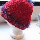 Crochet PonyTail Hat Red with Purple