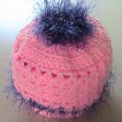 Crochet PonyTail Hat Pink with Lavendar Girls
