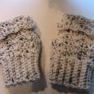 Crochet Fingerless Mitts Tweed Beige