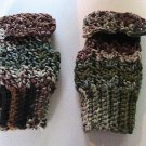Crochet Fingerless Mitts Army Camouflage