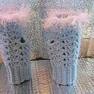 Crochet Fingeless Mitts - Baby Blue and White