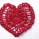 Heart Coaster or Applique - Crochet - Red
