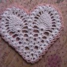 Heart Coaster or Applique - Crochet - Pink N' White