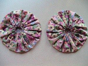 Pair - GIANT Quilting Yo-Yo's - Rose Garden Chintz