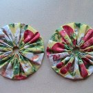 Pair - GIANT Quilting Yo-Yo's - Strawberries and Cherries