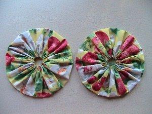 Pair - GIANT Quilting Yo-Yo's - Strawberries and Cherries