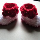 Baby Boots - Pedal Leaf - Red and White