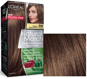 L'Oreal Natural Match hair color 5W 5 W Medium Golden Brown by l oreal