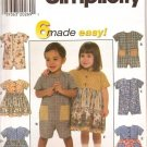 SIMPLICITY 7617 TODDLER DRESSES SEWING ROMPERS PATTERN