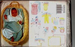 Butterick #3812 Baby infants layette Sewing Pattern UNCUT