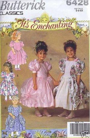 Butterick 6428 Girls Flower girl Dress Sewing Pattern CUT