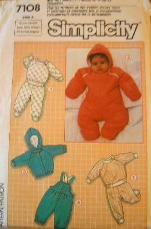 Simplicity 7108 baby pajamas snowsuit overalls sewing pattern CUT