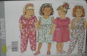 Butterick 3269 Toddler Dress Jumpsuit vintage sewing pattern CUT