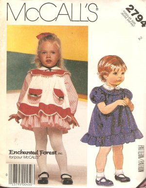 McCall's 2794 Toddler Girl Dress vintage sewing pattern CUT
