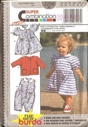 Burda 3296 Toddler Girl Dress vintage sewing pattern CUT
