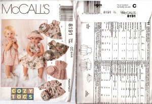 McCall's 8191 - Toddler Girls dress hat pants shorts Sewing Pattern CUT