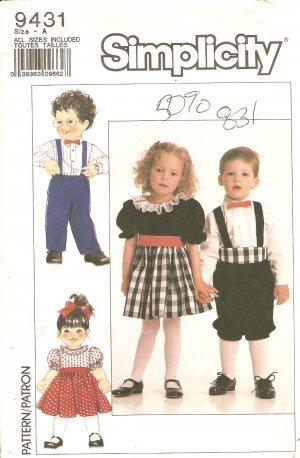 Simplicity 9431 Toddler Girls dress Boys suit Sewing Pattern UNCUT