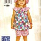 See & Sew 4489 Toddler Girls shorts outfit hat Sewing Pattern CUT