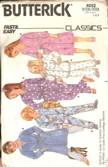 Butterick 4052 Toddler Girl Boy Pajamas robe Vintage Sewing Pattern CUT
