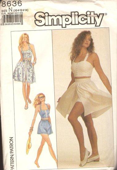 Simplicity 8636 dress halter shorts size 10 12 14 Sewing Pattern UNCUT