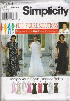 Simplicity 7163 Dress Robe plus size 26W - 32W Sewing Pattern