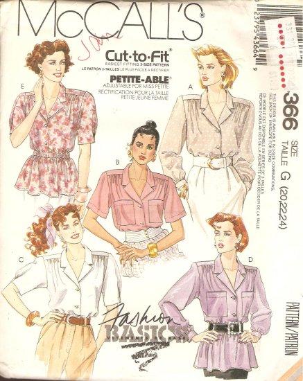 McCall's 4366 Blouse Shirt plus size 20 22 24 Sewing Pattern