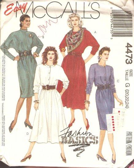 McCall's 4473 Dress Sewing Pattern plus size 20 22 24