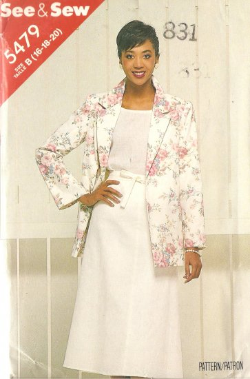 See & Sew 5479 Suit Dress Jacket Skirt Size 16 18 20